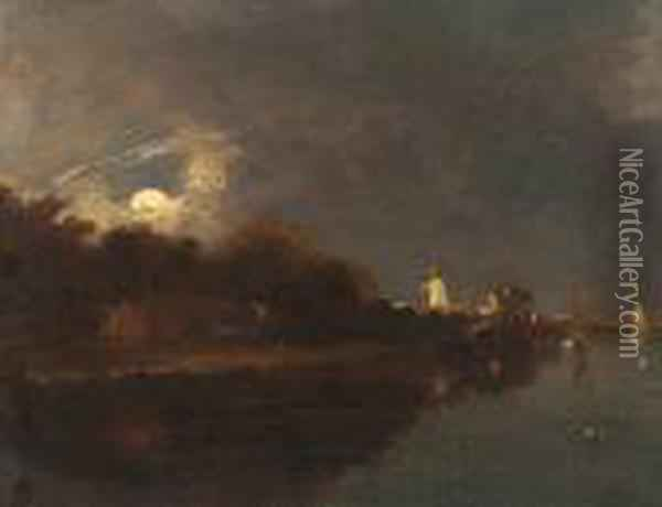 A Moonlight View On The River Yare Oil Painting - John Crome