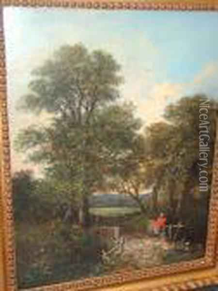 Figure On A Bridge In A Woodland Landscape Oil Painting - John Crome