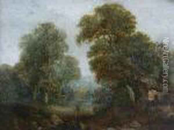 A Wooded River Landscape With Cottage Oil Painting - John Crome