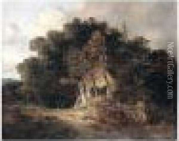Wooded Landscape With Cottage, Near Norwich Oil Painting - John Crome
