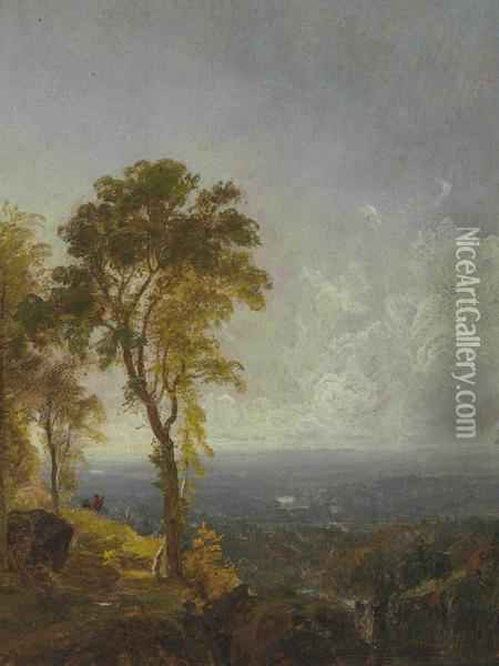 Landscape View Near Catskill Mountain House Oil Painting - Jasper Francis Cropsey
