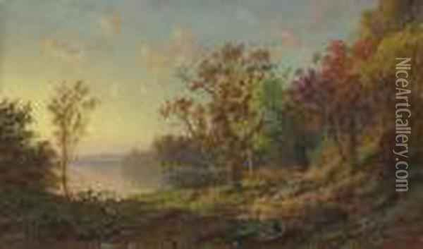 Driving Home The Flock Oil Painting - Jasper Francis Cropsey