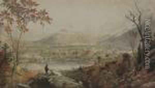 American Autumn. Starucca Valley Viaduct, Erierailroad Oil Painting - Jasper Francis Cropsey