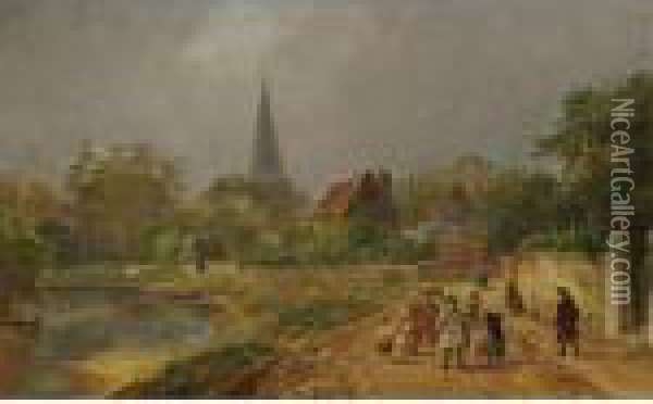 Going To Church - A Spring Morning In England Oil Painting - Jasper Francis Cropsey