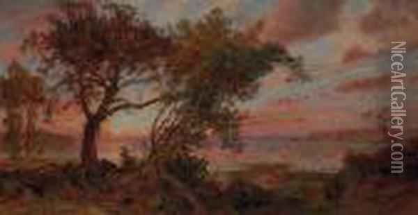 Sunset Oil Painting - Jasper Francis Cropsey