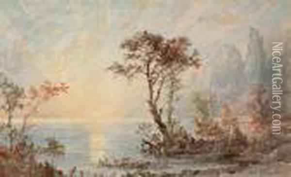Under The Palisades Oil Painting - Jasper Francis Cropsey