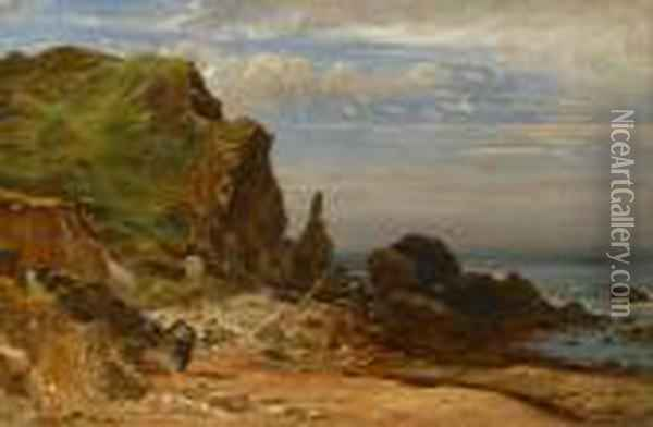 Coast Bit, West Lulworth Oil Painting - Jasper Francis Cropsey