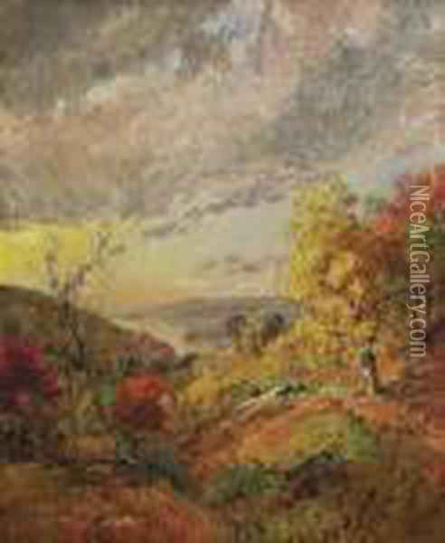 Autumn View, Greenwood Lake Oil Painting - Jasper Francis Cropsey