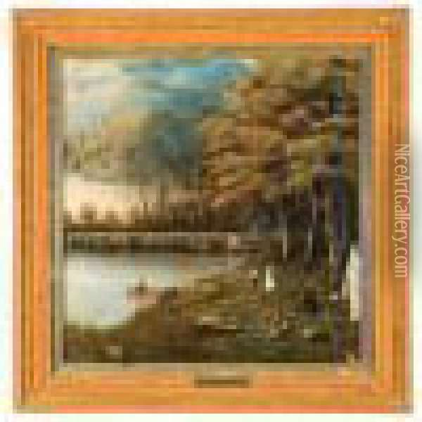 Landscape Attributed To Jasper Francis Cropsey Oil Painting - Jasper Francis Cropsey
