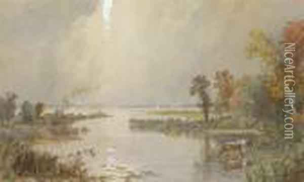 Hackensack Meadows Oil Painting - Jasper Francis Cropsey