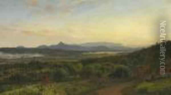 View Of Sugar Loaf Mountain From The Artist's Home Oil Painting - Jasper Francis Cropsey