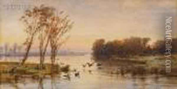 On The Lake Oil Painting - Jasper Francis Cropsey