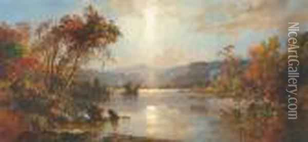 Homestead On Greenwood Lake Oil Painting - Jasper Francis Cropsey