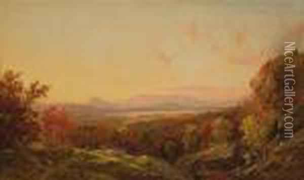 Extensive Autumn Vista With Cattle Oil Painting - Jasper Francis Cropsey