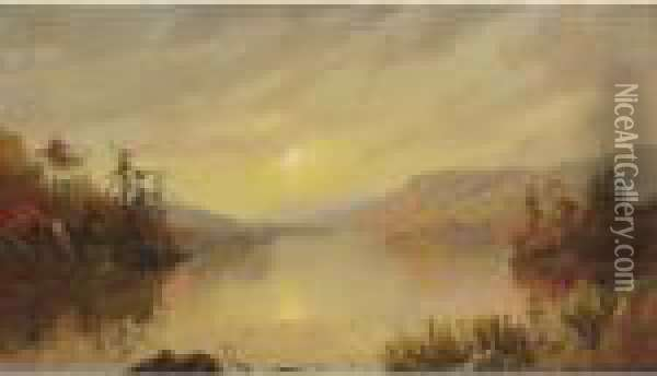 Greenwood Lake, New Jersey Oil Painting - Jasper Francis Cropsey