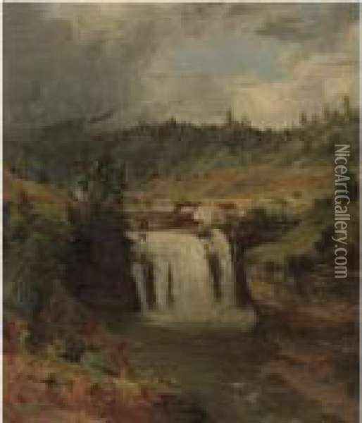 Portage Falls On The Genesee Oil Painting - Jasper Francis Cropsey