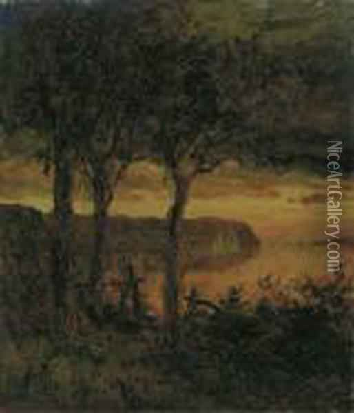 Palisades Opposite Hastings-on-hudson Oil Painting - Jasper Francis Cropsey