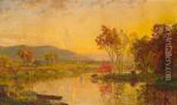 An Autumn Landscape With Cattle Watering At A River Oil Painting - Jasper Francis Cropsey