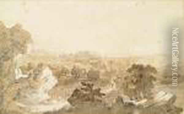 An Extensive Landscape With Trees And Rocks In The Foreground Oil Painting - Jasper Francis Cropsey