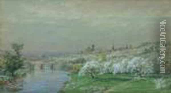 Spring Landscape With River And Town Oil Painting - Jasper Francis Cropsey