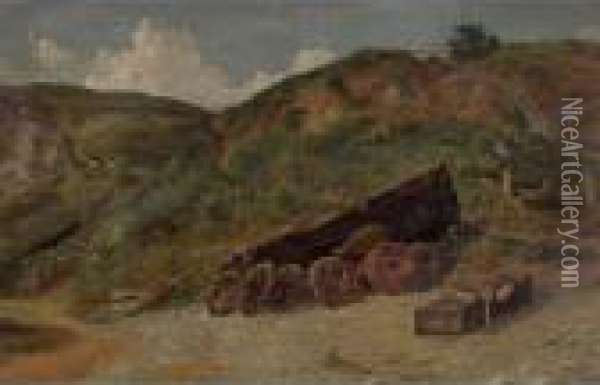 Study Of Boat And Lobster Pots, West Lulworth Oil Painting - Jasper Francis Cropsey