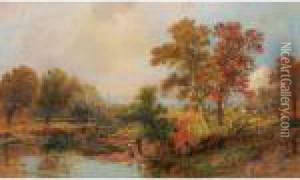 October Day Oil Painting - Jasper Francis Cropsey