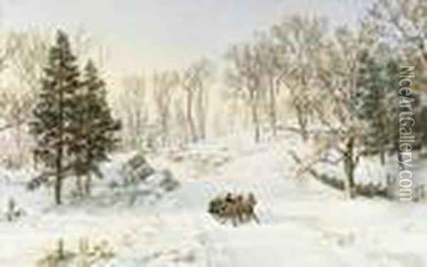 Winter On Ravensdale Road, Hastings-on-hudson, New York Oil Painting - Jasper Francis Cropsey