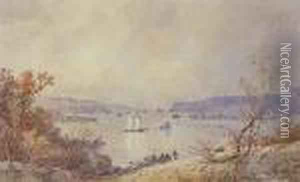 Palisades On The Hudson Oil Painting - Jasper Francis Cropsey