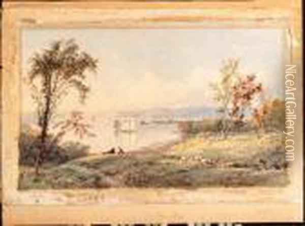 Along The Hudson Oil Painting - Jasper Francis Cropsey