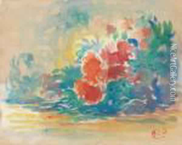 Buisson De Fleurs Oil Painting - Henri Edmond Cross