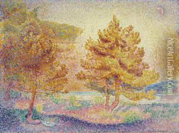 Pins Oil Painting - Henri Edmond Cross