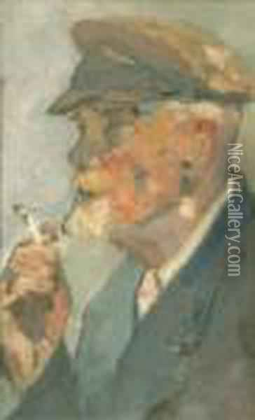 Portrait Of An Elderly Man Believed To Be A Self Portrait Oil Painting - Henri Edmond Cross