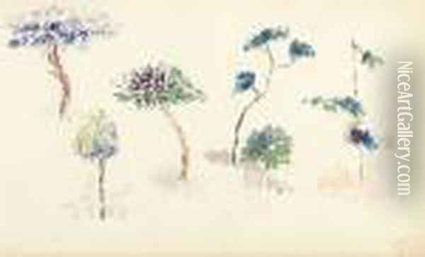 Etude D'arbres. Oil Painting - Henri Edmond Cross