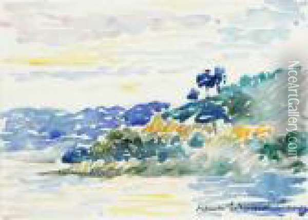 Cote Provencale Oil Painting - Henri Edmond Cross