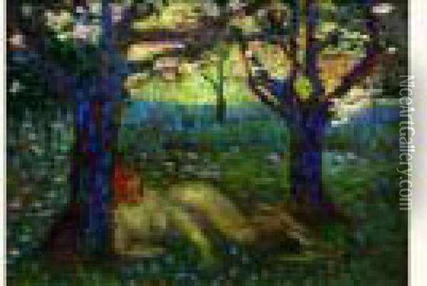 Nu Allonge Dans Les Bois Oil Painting - Henri Edmond Cross