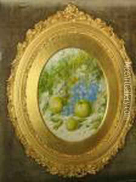 Still Life Of Grapes And Apples On A Bank Oil Painting - William Cruickshank