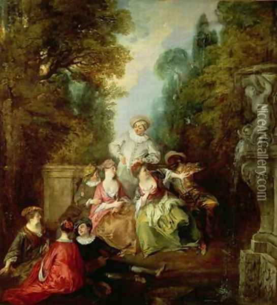 Italian Comedians by a Fountain Oil Painting - Nicolas Lancret