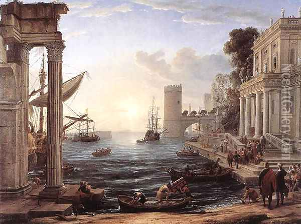 Seaport with the Embarkation of the Queen of Sheba, 1648 Oil Painting - Claude Lorrain (Gellee)