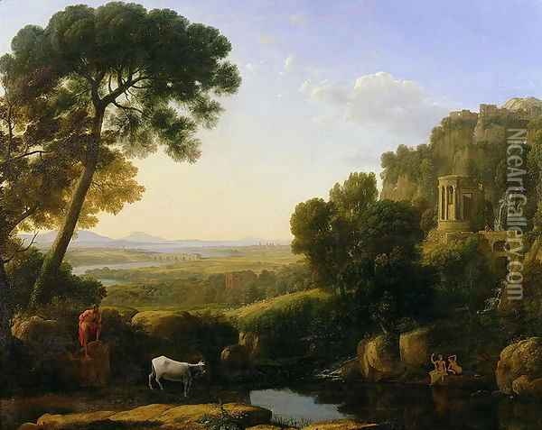A Sunset or Landscape with Argus Guarding Io Oil Painting - Claude Lorrain (Gellee)