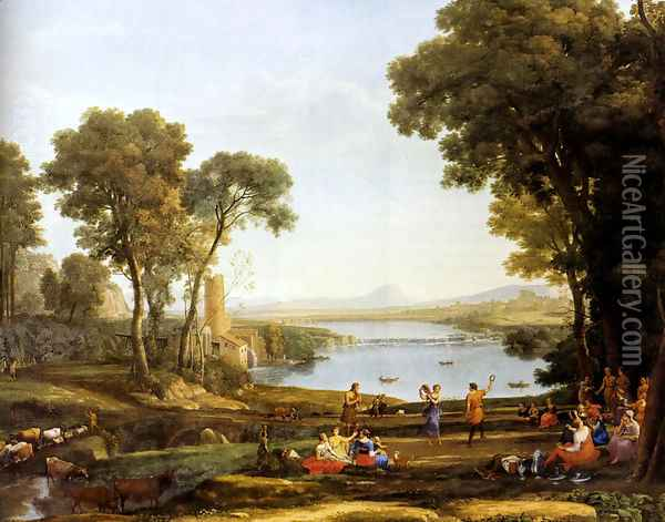 Landscape With The Marriage Of Isaac And Rebekah Oil Painting - Claude Lorrain (Gellee)