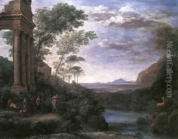 Landscape with Ascanius Shooting the Stag of Sylvia 1682 Oil Painting - Claude Lorrain (Gellee)