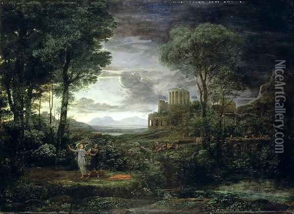 Landscape with Jacob Wrestling with the Angel, or Night, 1672 Oil Painting - Claude Lorrain (Gellee)