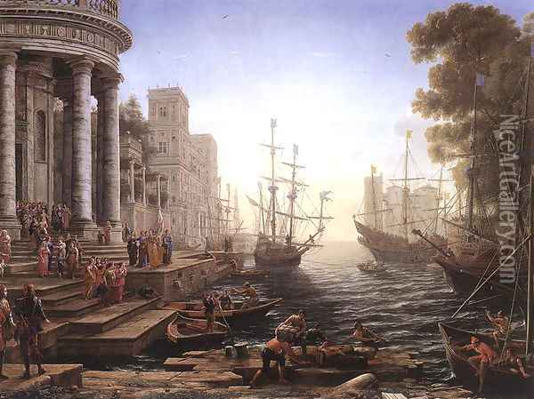 Port Scene with the Embarkation of St Ursula 1641 Oil Painting - Claude Lorrain (Gellee)