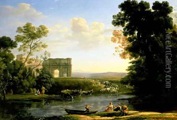 Pastoral Capriccio with the Arch of Constantinople Oil Painting - Claude Lorrain (Gellee)