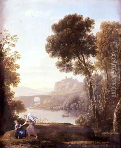Landscape with Hagar and the Angel, 1646 Oil Painting - Claude Lorrain (Gellee)