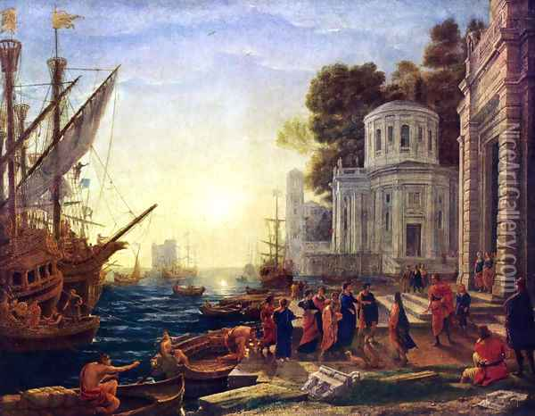 The Disembarkation of Cleopatra at Tarsus Oil Painting - Claude Lorrain (Gellee)