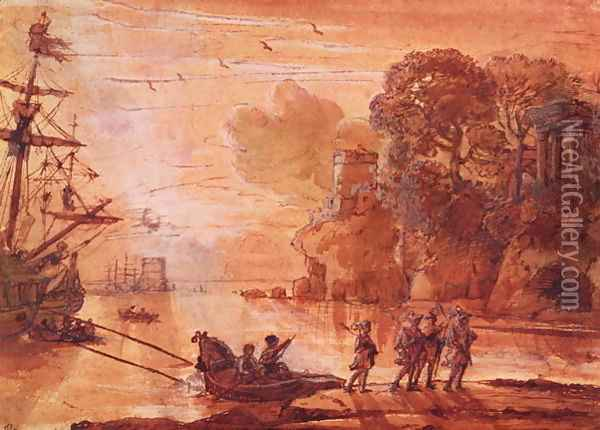 The Disembarkation of Warriors in a Port, possibly Aeneas in Latium, 1660-65 Oil Painting - Claude Lorrain (Gellee)
