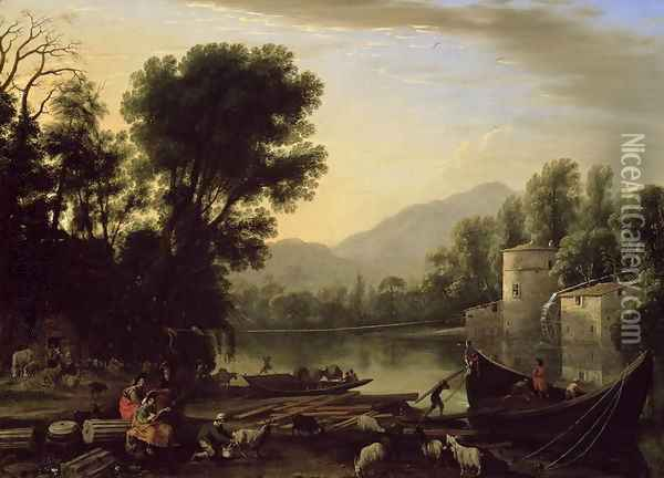 Mill on a River, c.1631 Oil Painting - Claude Lorrain (Gellee)