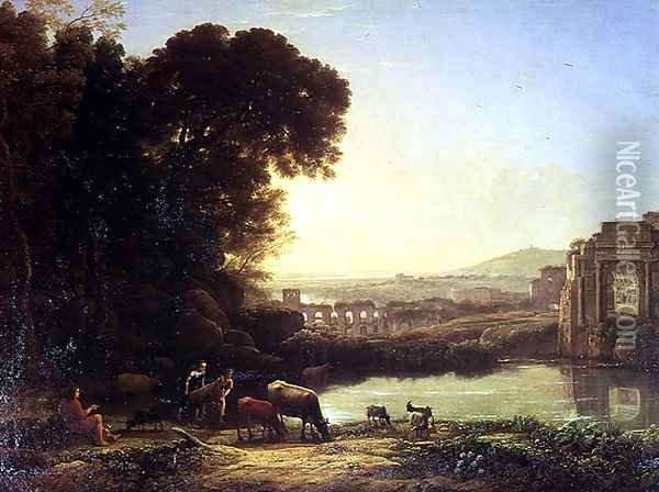 Cattle and Goats drinking by a ruin Oil Painting - Claude Lorrain (Gellee)