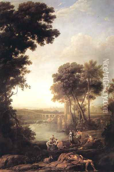 Landscape with the Finding of Moses 1637-39 Oil Painting - Claude Lorrain (Gellee)